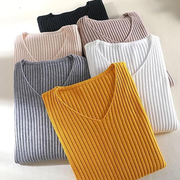 Women's V-Neck Basic Sweater